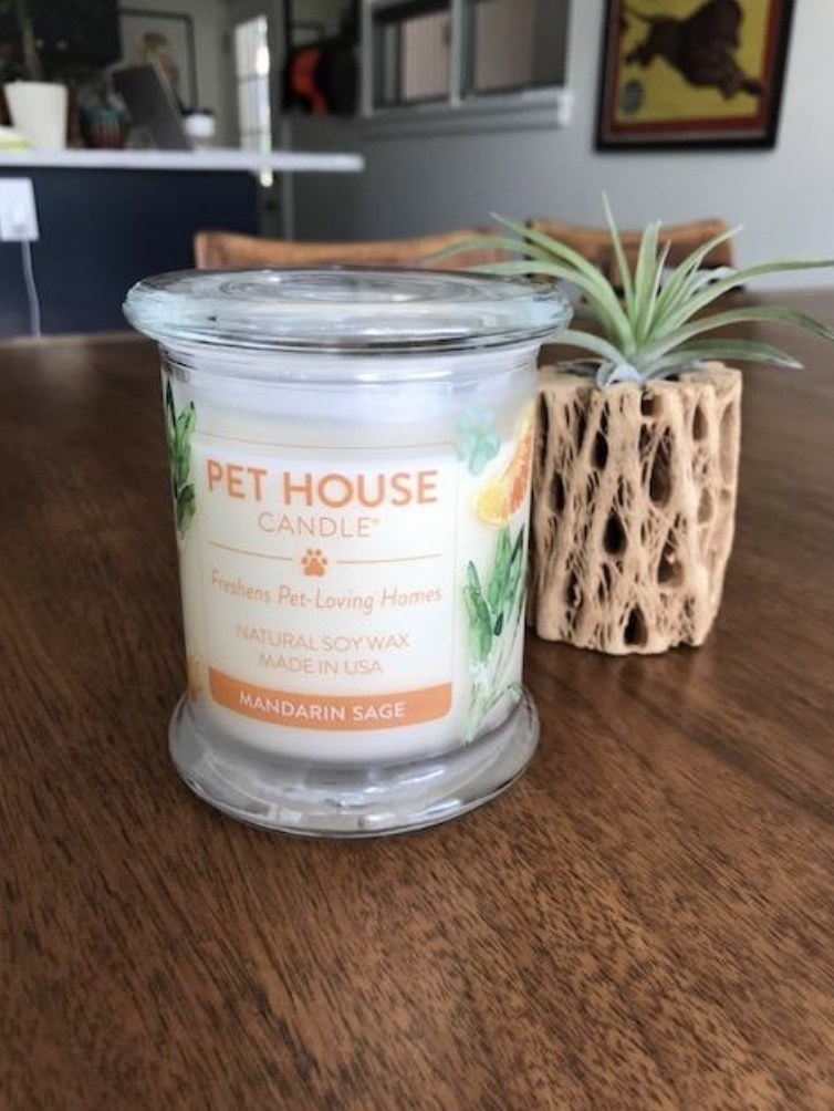 Odor eliminating candle sitting on table.