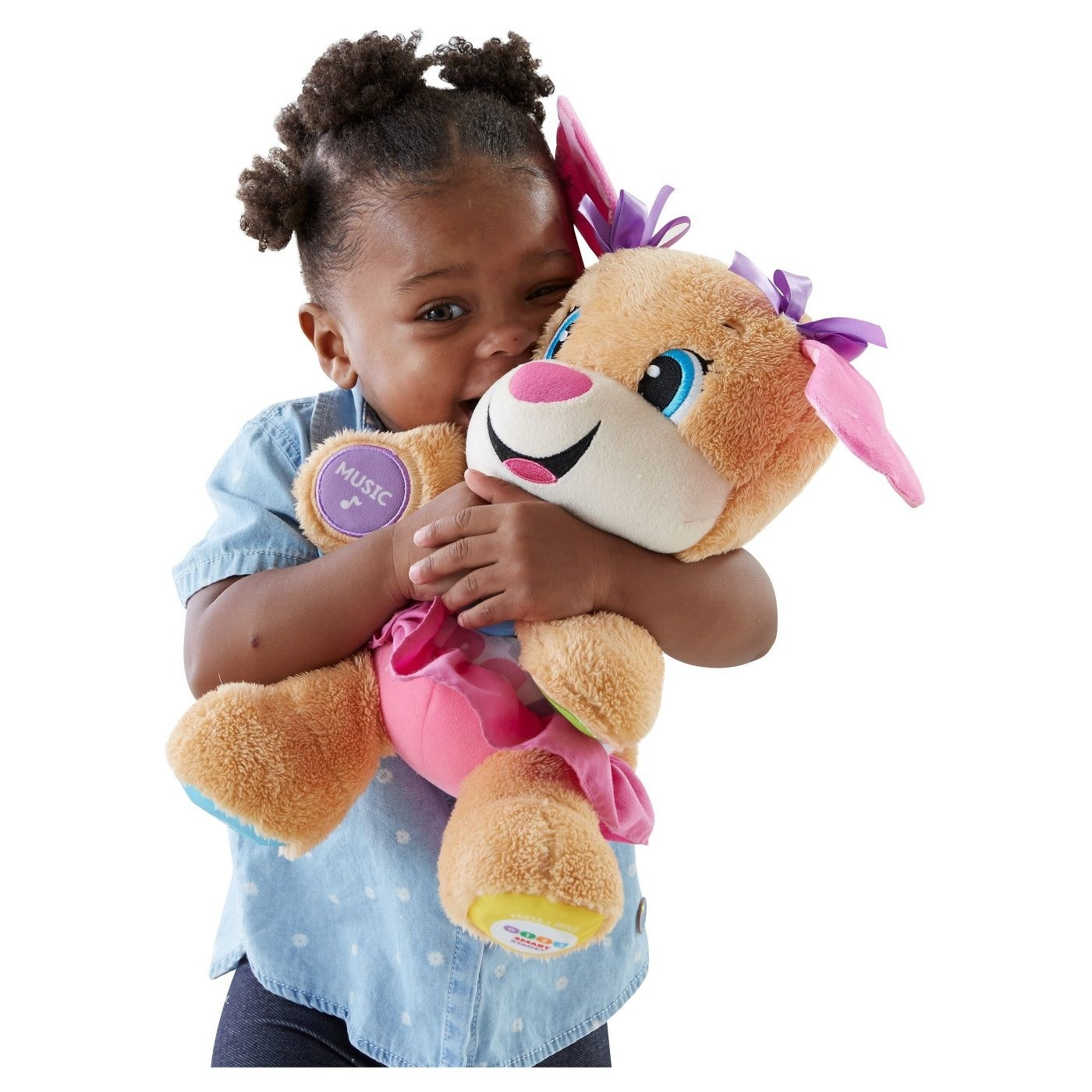 A child hugging the toy