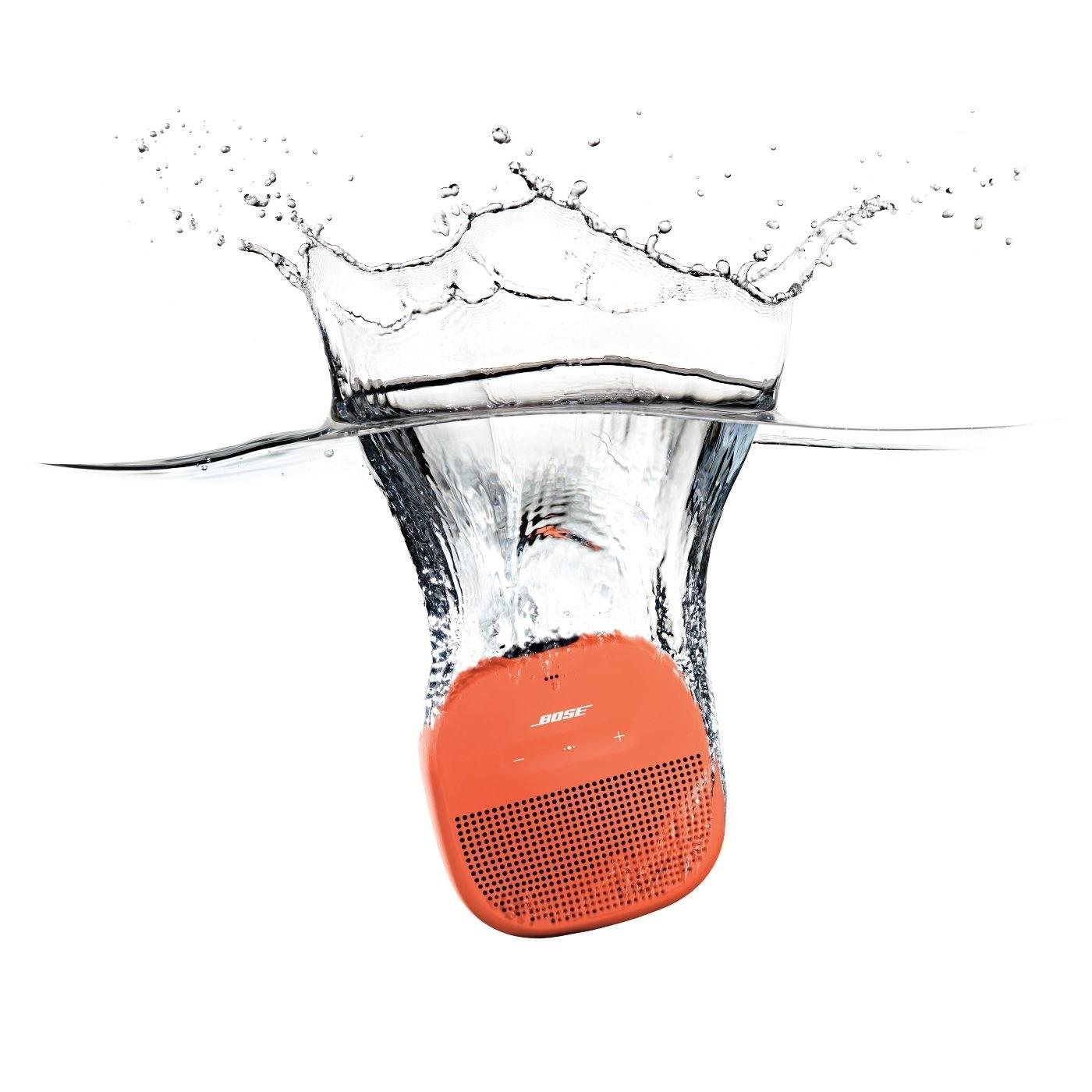 The speaker, shown in orange and submerged underwater