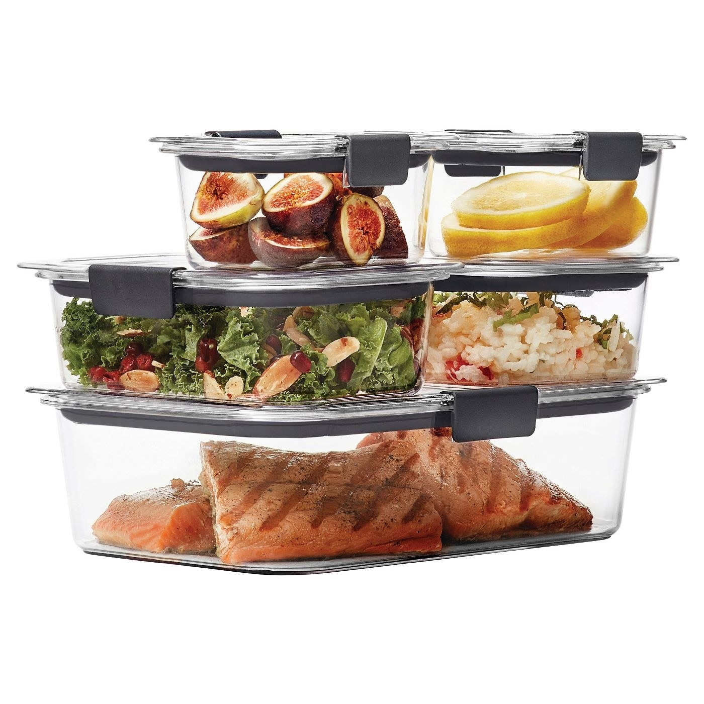 Set of containers shown filled with food