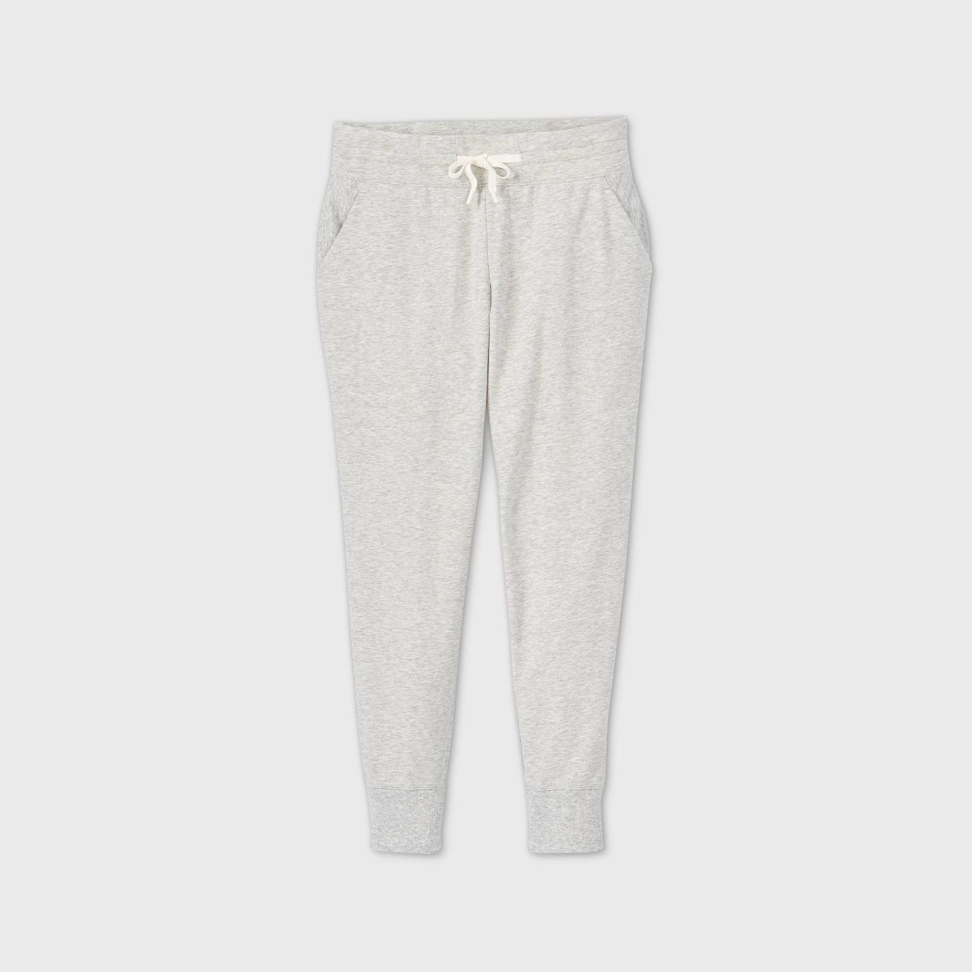 Joggers in white heather, on a white background