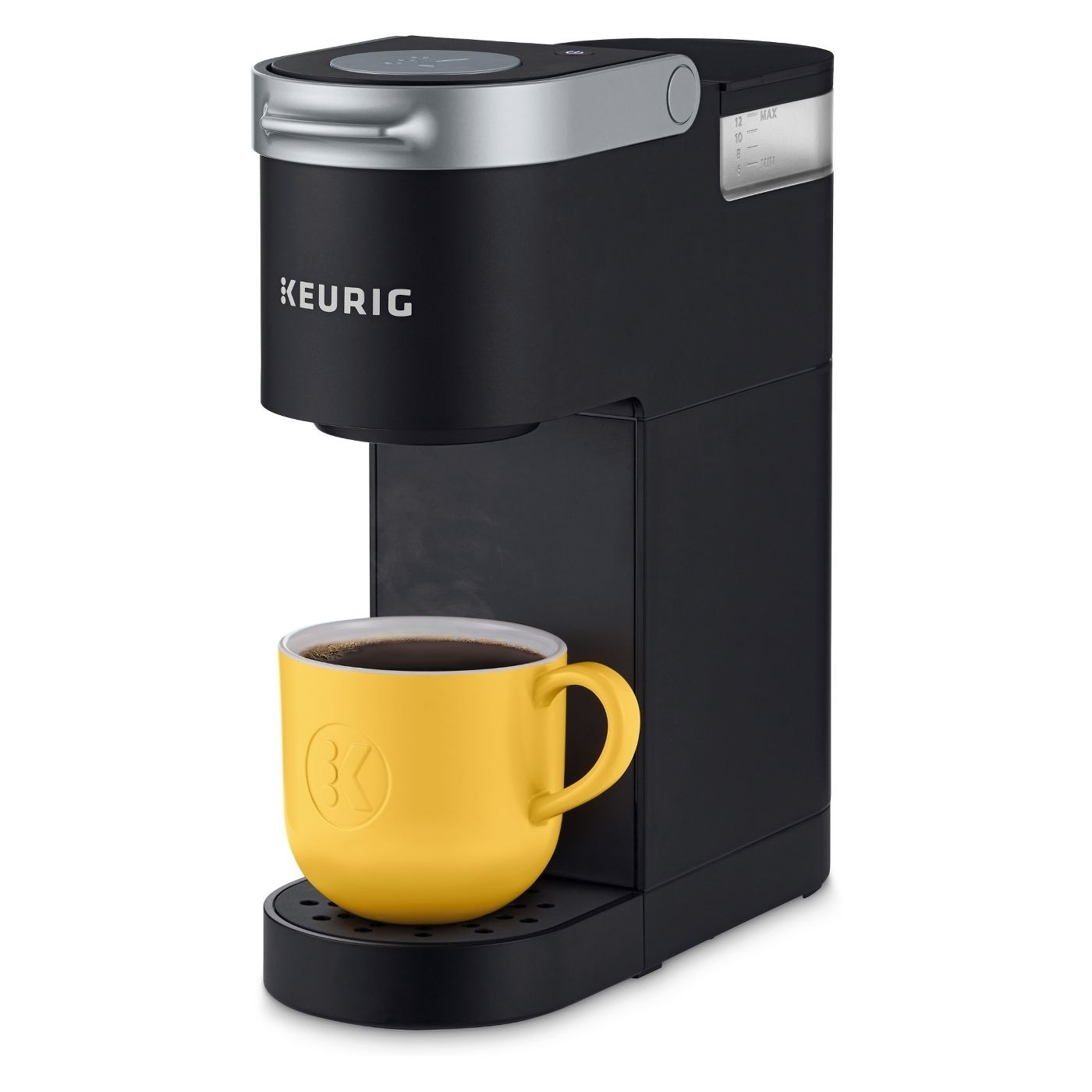 A black single serve Keurig coffee maker