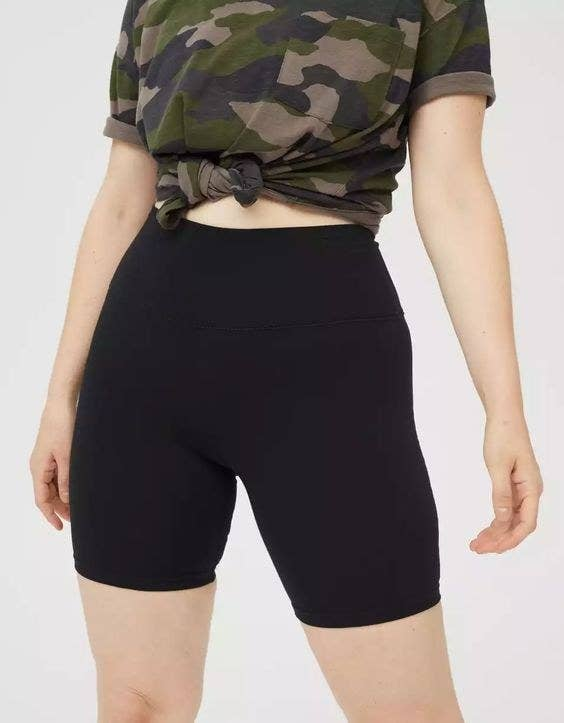 Model wearing the black bike shorts