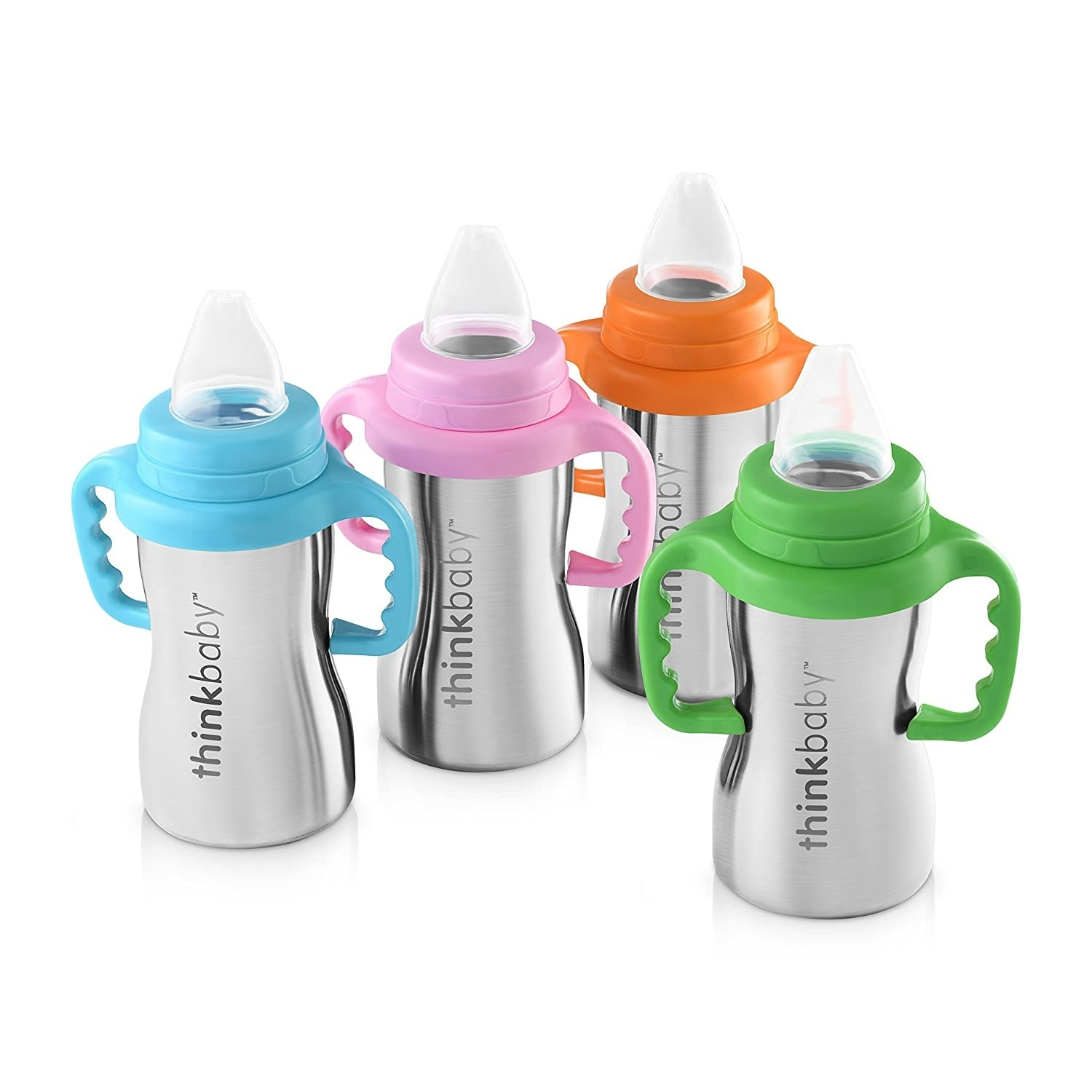 Sippy cups for toddlers with a stainless steel bottle, plastic handle, and silicone nipple.