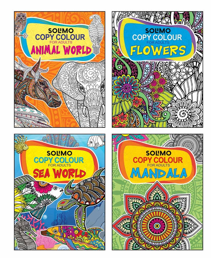 Covers of 4 colouring books