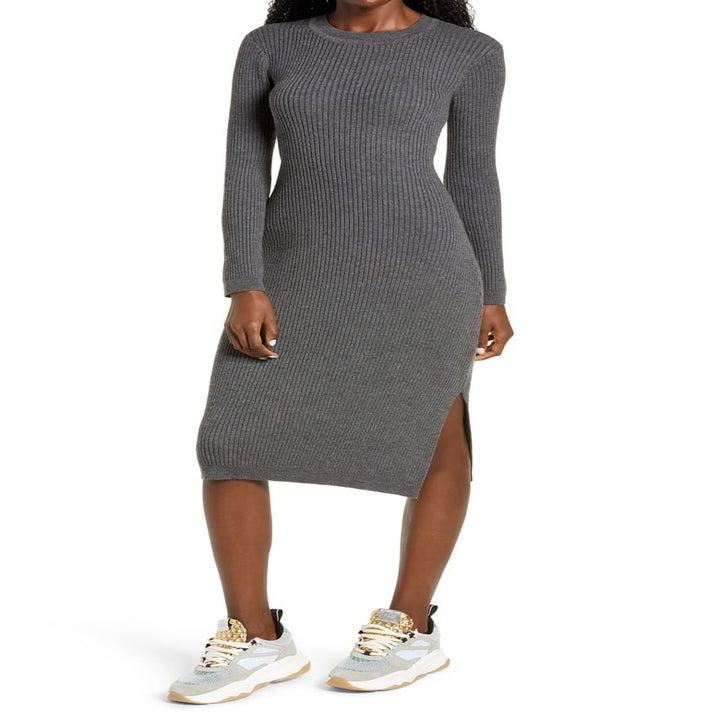 model wearing the gray dress