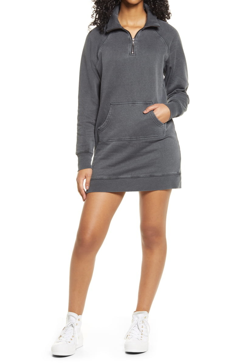 model wearing the gray sweater zip-up dress