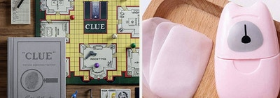 A clue game in a book-shaped box / portable soap sheets