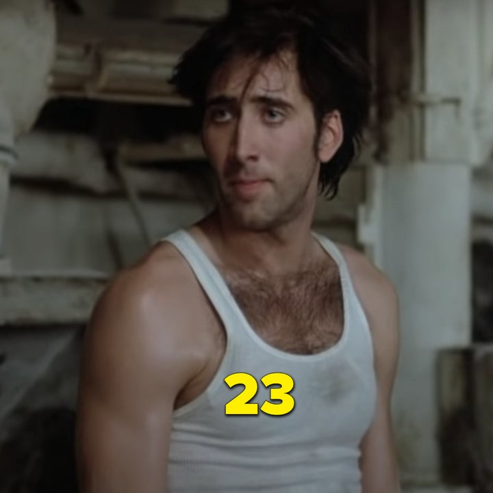 "Nic Cage showing off his chest hair while wearing a tight white shirt in ""Moonstruck"""