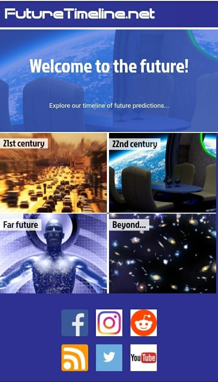 """The homepage for """"FutureTimeline.net,"""" showing options to see the projected timelines for the 21st century, the 22nd century, the far future, and beyond"""