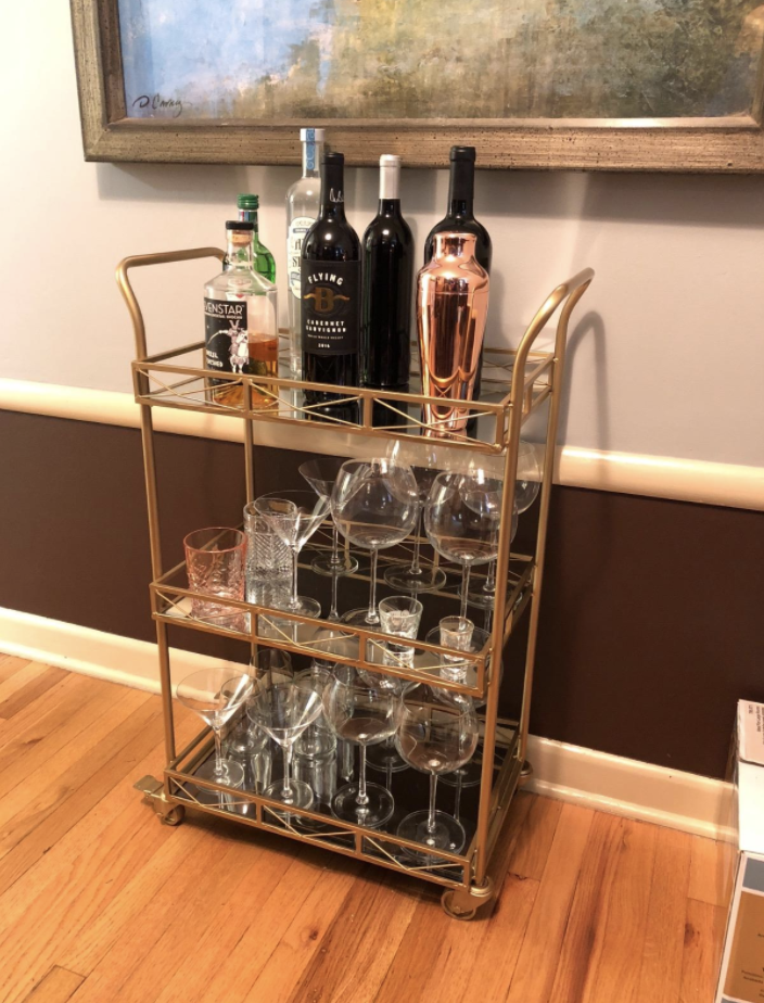 Three level bar cart