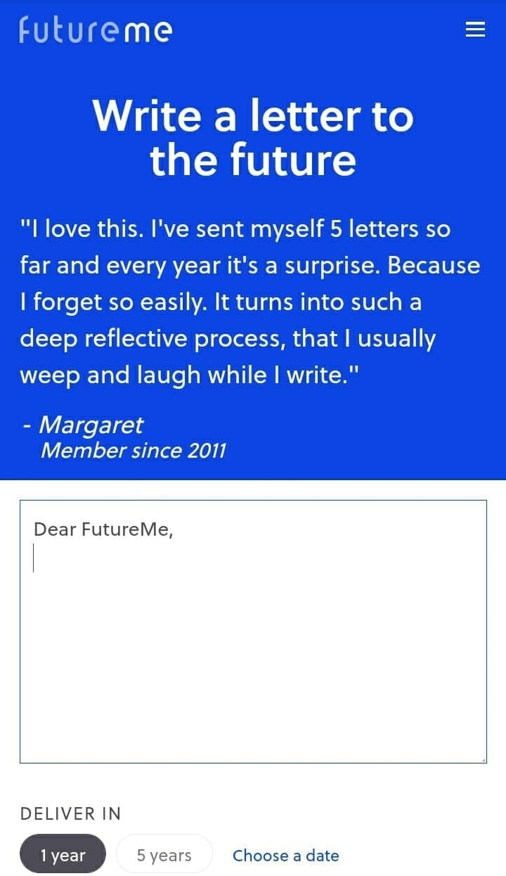 """The homepage of """"FutureMe,"""" showing a user's review of the site and the textbox for users to type their emails"""