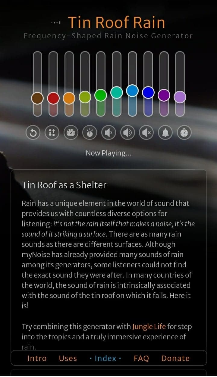 The 'Tin Roof Rain' option from myNoise that allows users to adjust the frequencies of the recording