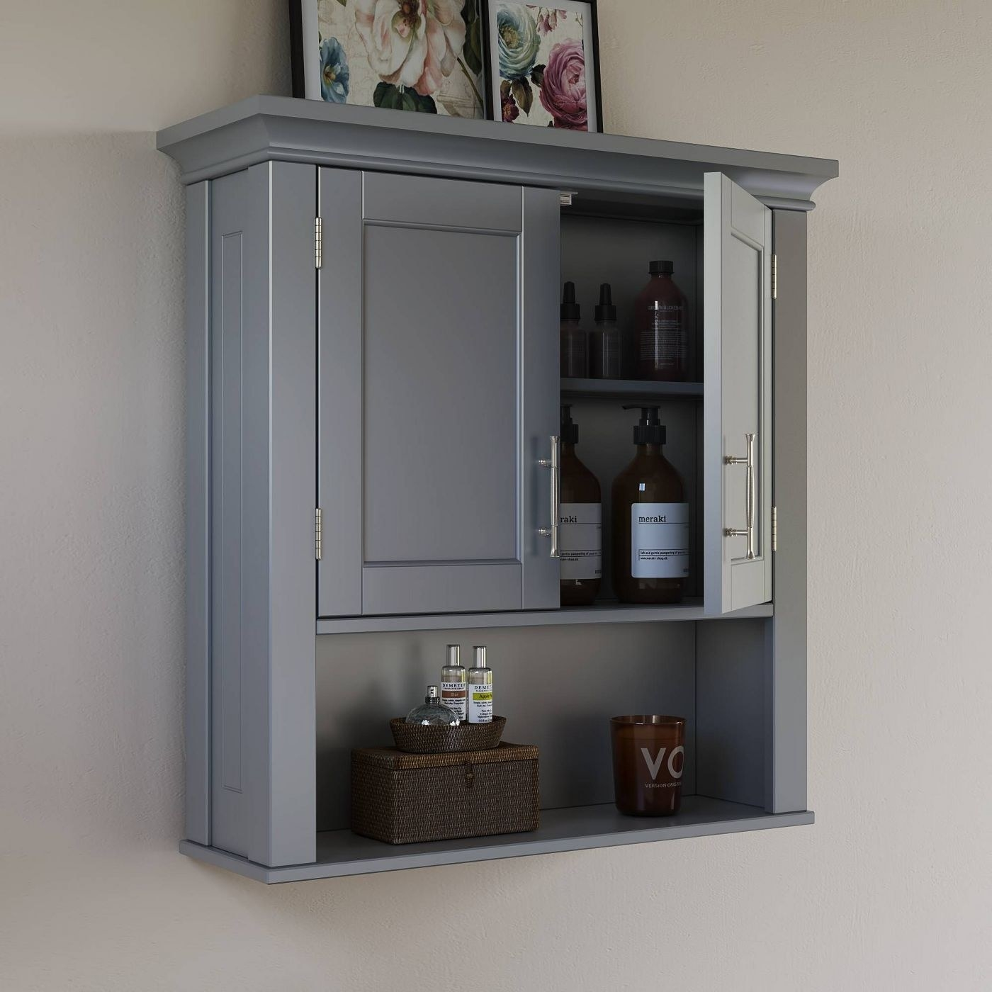 Gray two door wall cabinet with bottles stored inside