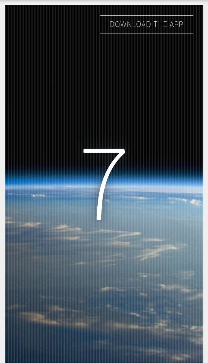 """The homepage of """"How Many People Are In Space Right Now?"""" showing the number seven overlaid on an image of Earth from space"""