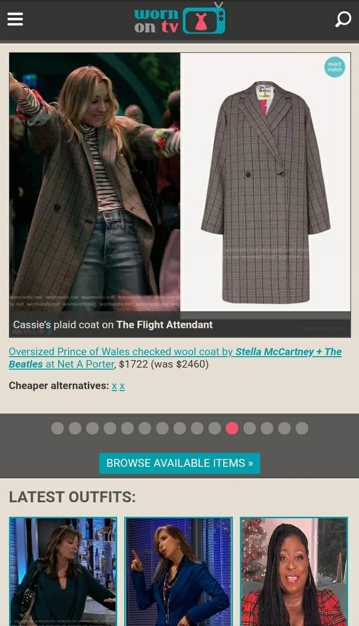 """The homepage of """"WornOnTV"""" showing Kaley Cuoco in 'The Flight Attendant' and where you can buy the coat she's wearing"""