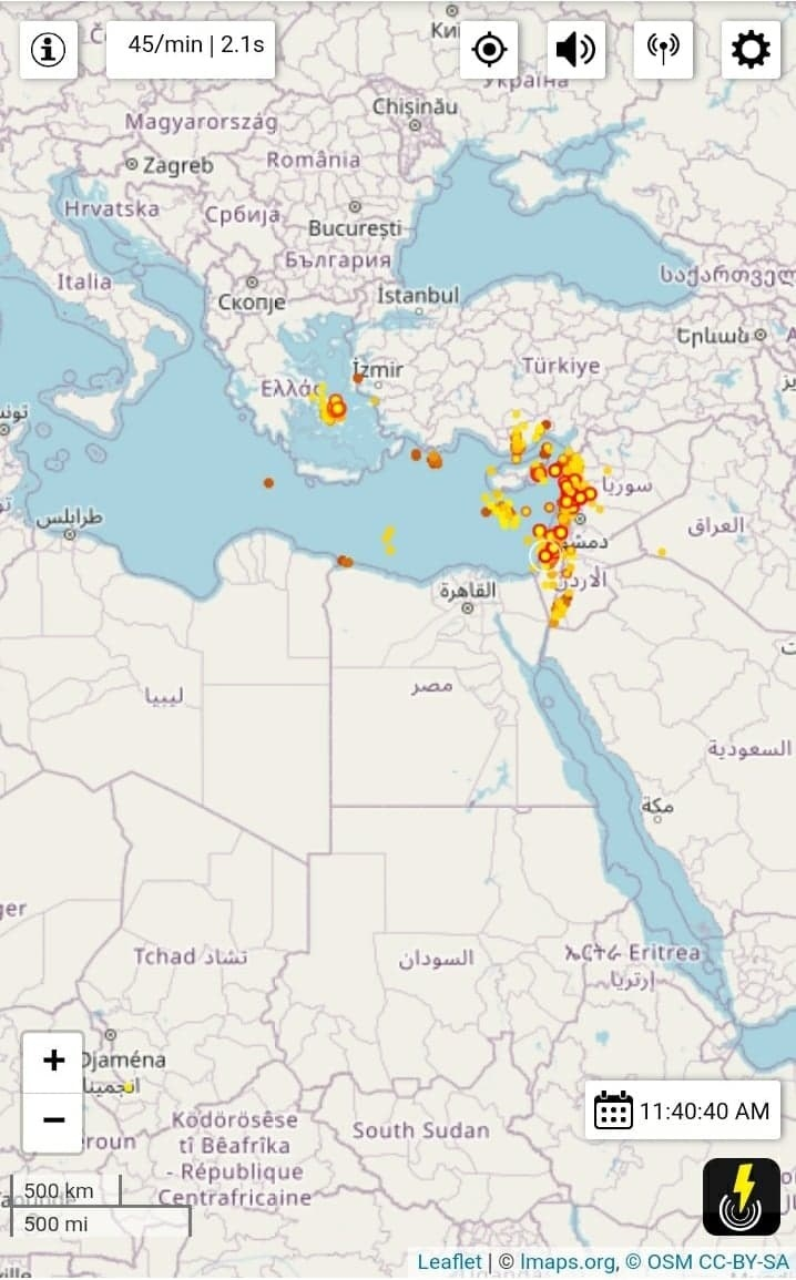 A map showing the lightning striking over countries in the Middle East and southeastern Europe