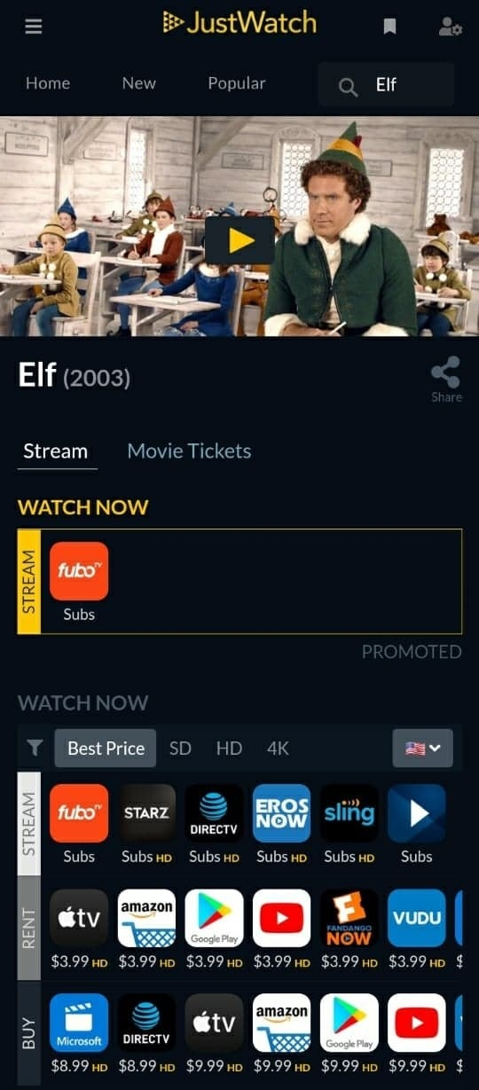 """""""JustWatch"""" showing where users can watch """"Elf"""" depending on whether they want to stream, rent, or buy the movie"""