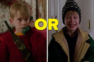 "Kevin McCallister is on the left holding a phone and on the right smiling with ""or"" written in the center"