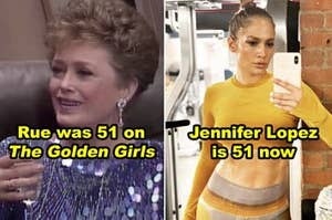 """Side-by-side of Rue McClanahan in """"The Golden Girls"""" and Jennifer Lopez now, both 51 years old"""