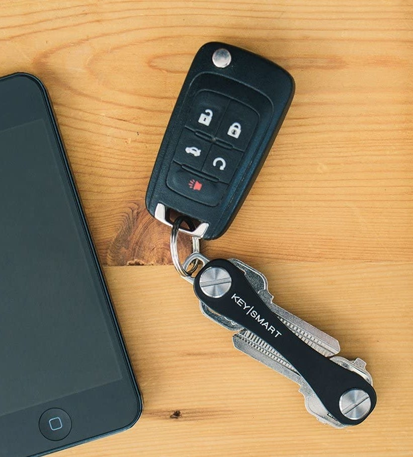 The keychain with a car fob attached to it