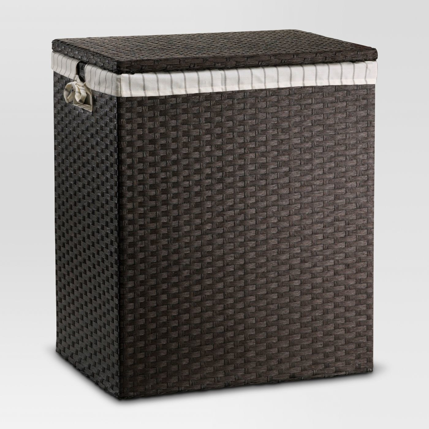 Dark brown hamper with gray and cream lining