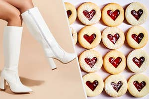 A woman is modeling knee high boots on the left with strawberry tart cookies on the right