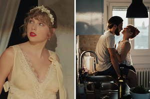"""On the left, Taylor Swift in the """"Willow"""" music video, and on the right, a couple kissing in the kitchen"""