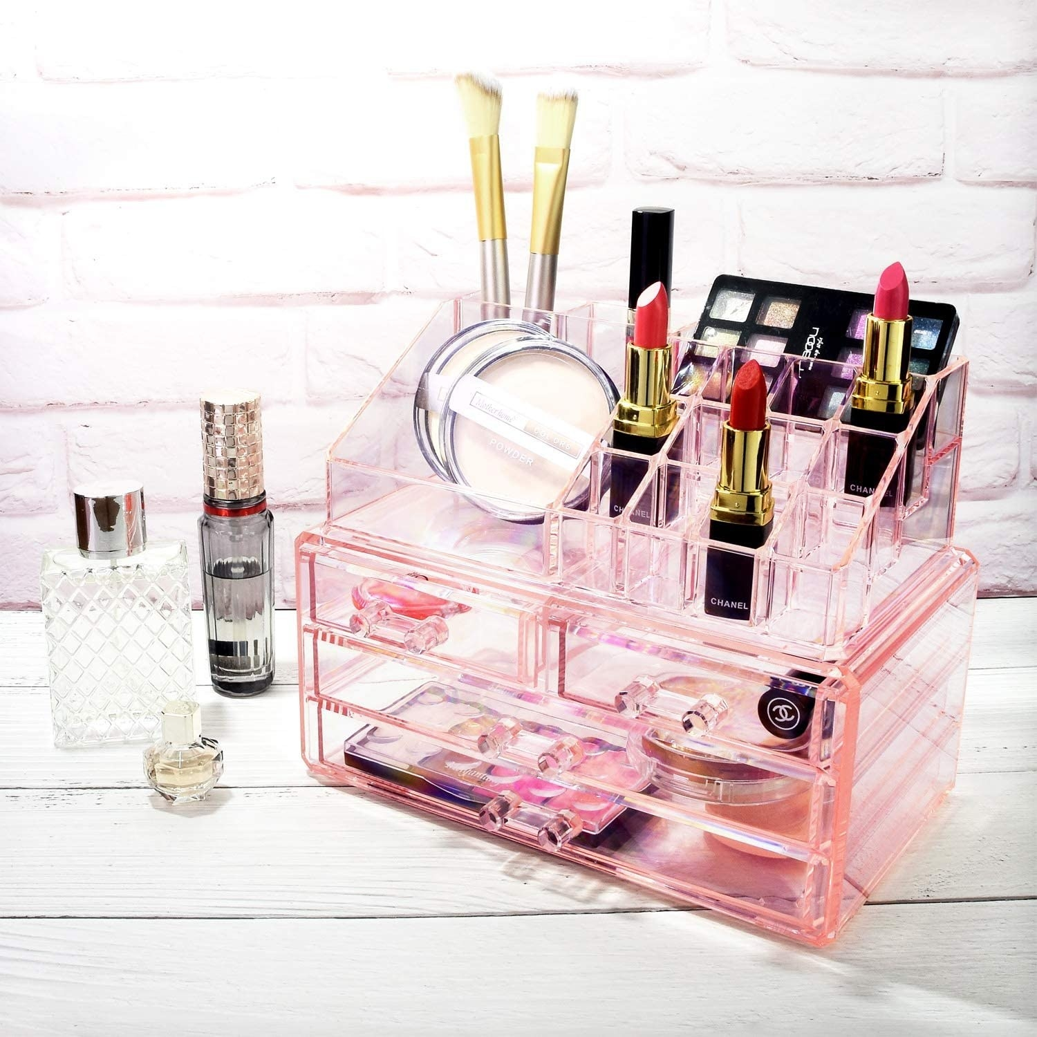 the Ikee Design Pink Jewelry and Cosmetic Storage Display Boxes