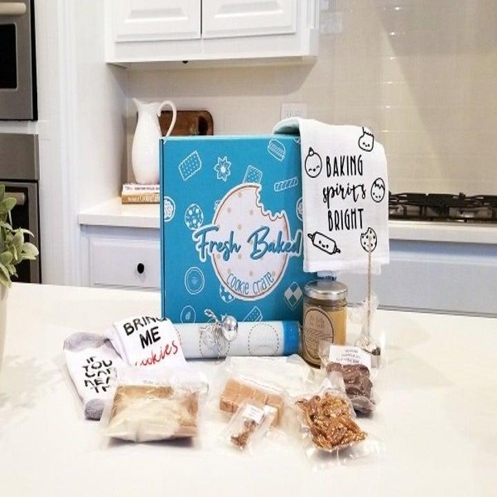 box of various cookie ingredients