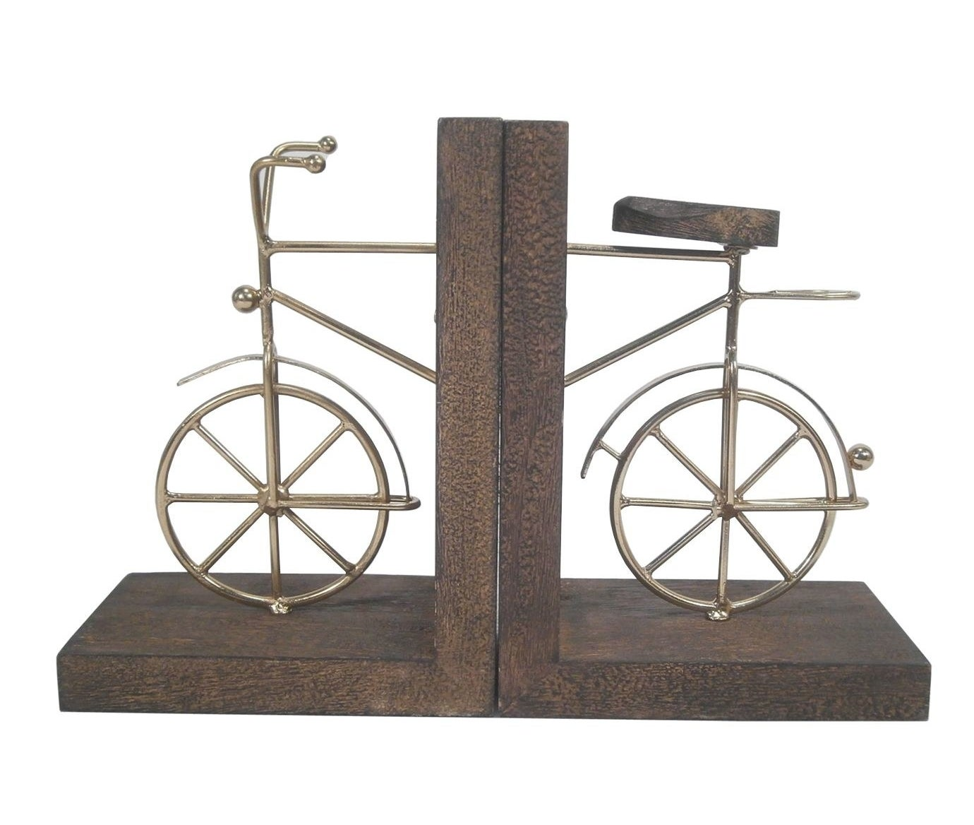 The two bookends, with a metal design of the front and back of a bike