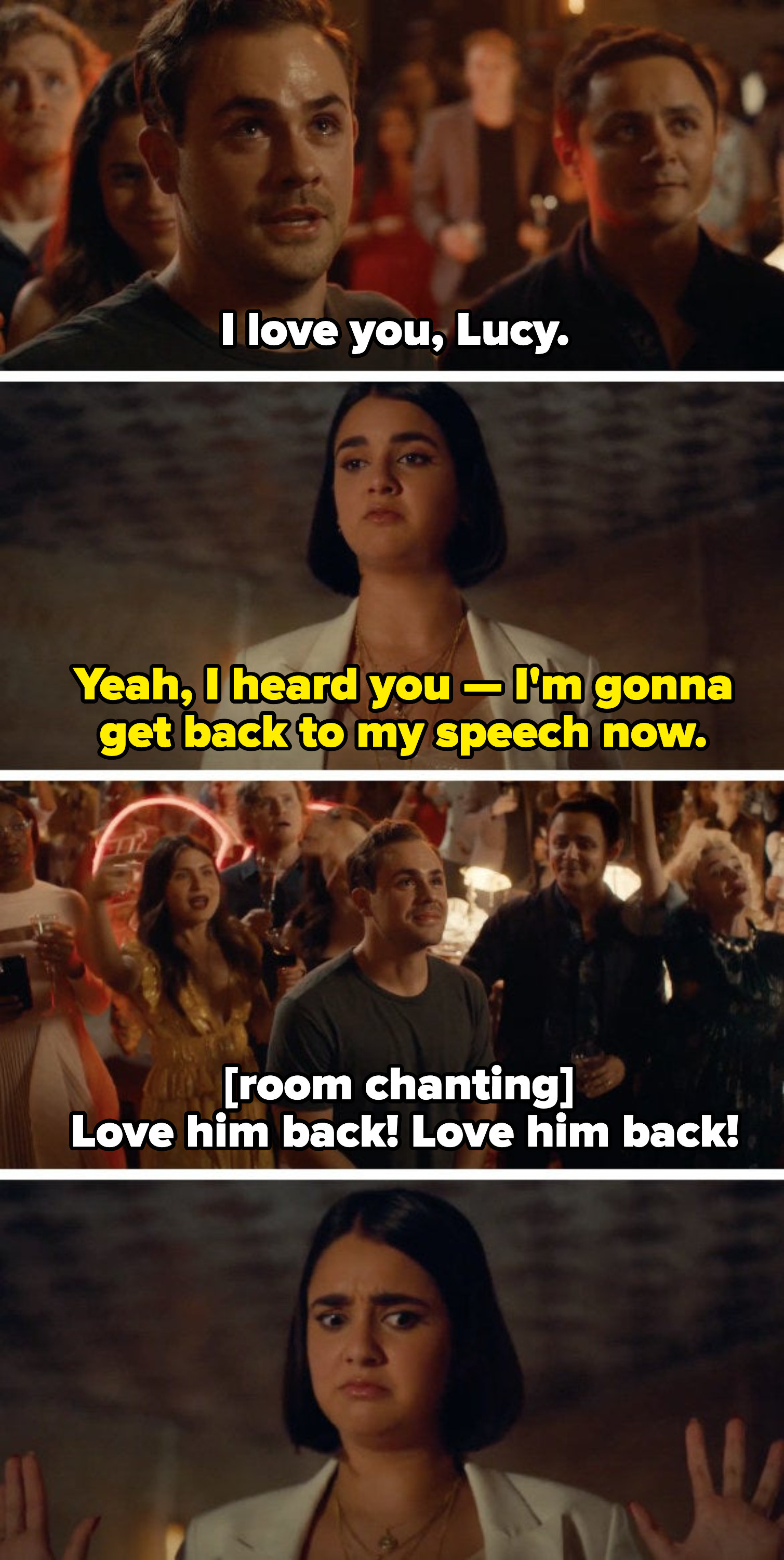 """Lucy annoyed that Nick interrupted her speech at the art gallery to profess his love, and visibly oerwhelmed that the entire crowd is chanting """"Love him back! Love him back!"""""""