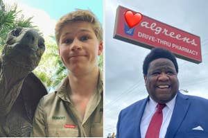 Rober Irwin with a tortoise side by side with Al Green at a Walgreens
