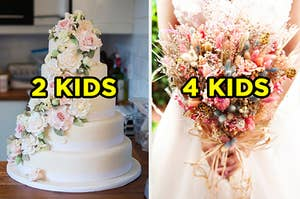 """On the left, a 5-tiered wedding cake with flowers going up the side labeled """"2 kids,"""" and on the right, a bride holding a bouquet labeled """"4 kids"""""""