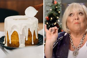 A cake is being glazed on the left with a woman tasting a dessert on the right
