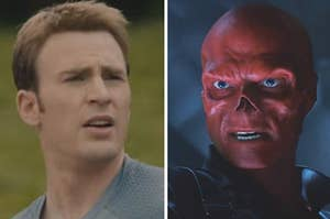 captain america looking confused and red skull