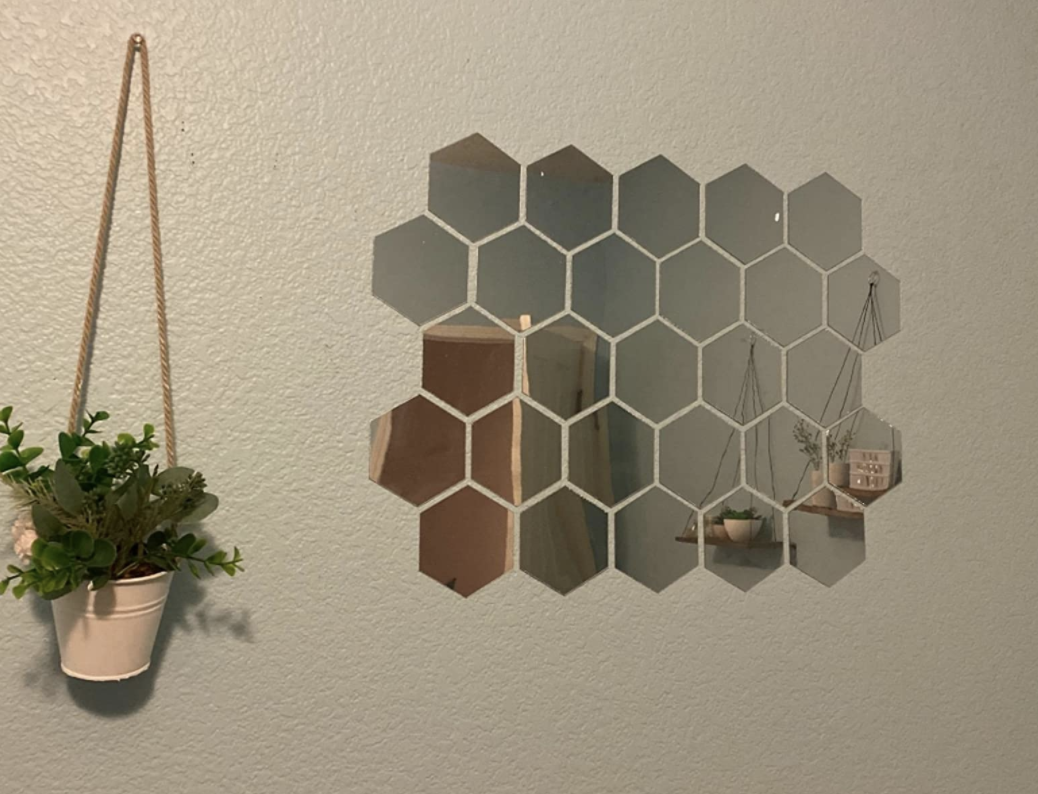 Hexagon wall mirror stickers
