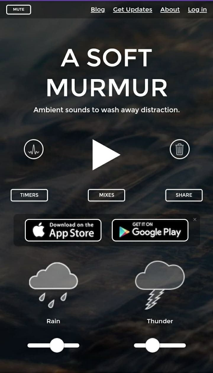 """The homepage for """"A Soft Murmur"""" showing tools to adjust different sounds, like rain and thunder"""