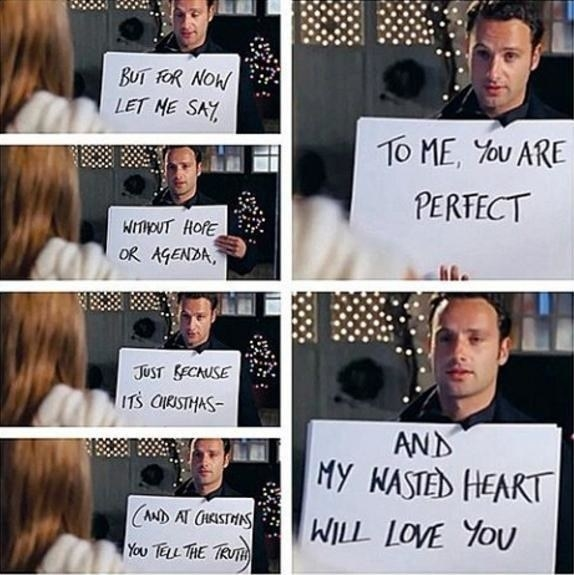 """Mark outside of Juliet's house with big, white cards that read: """"To me, you are perfect"""""""