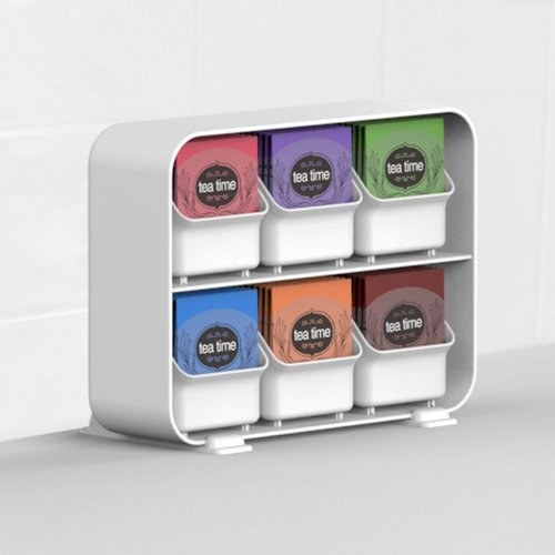 The organizer with tea bags in shelves