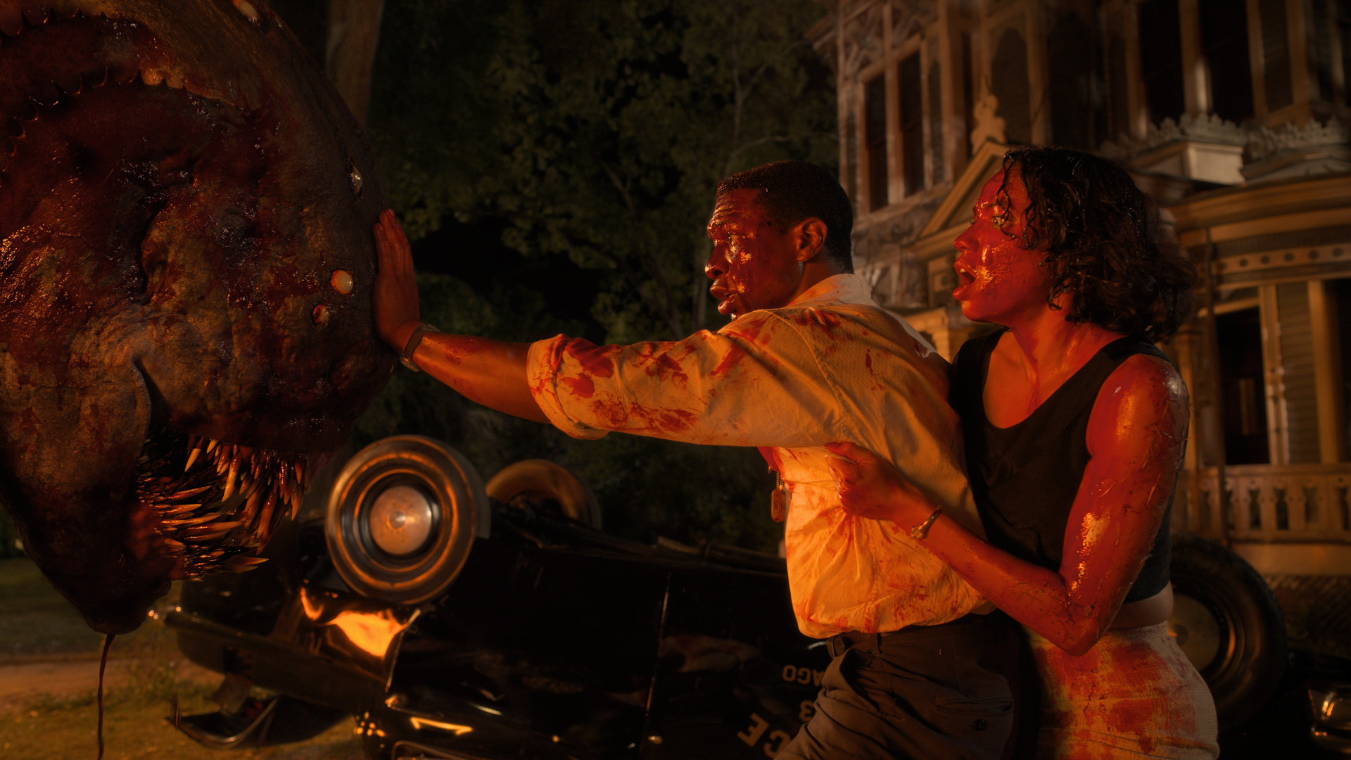 Jonathan Majors and Jurnee Smollett as Tic and Leti in Lovecraft Country