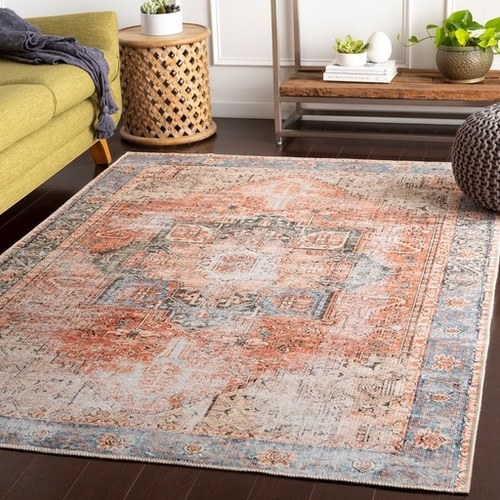 faded looking peach and blue area rug in a living room