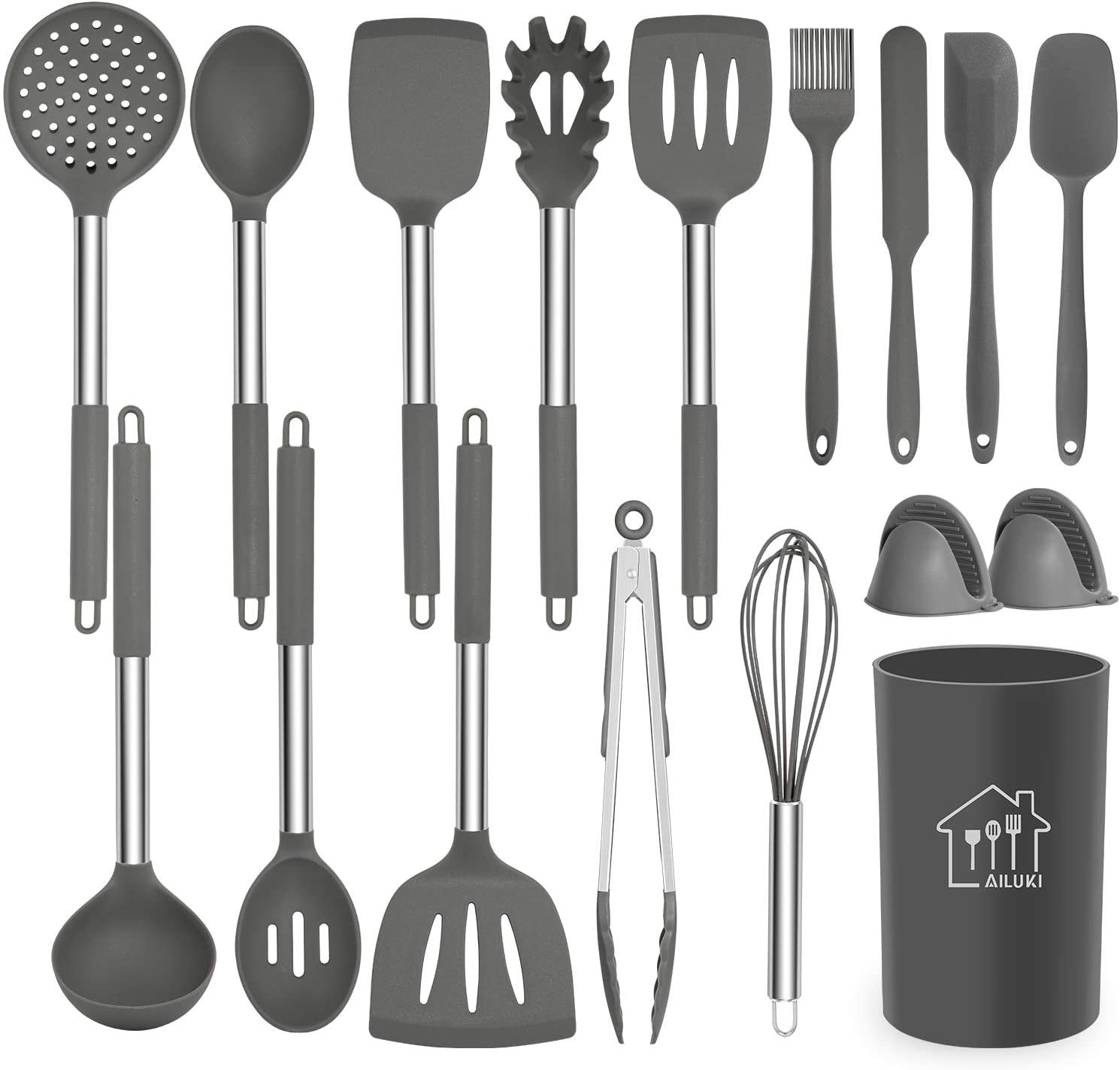 A 17-piece cooking utensil set, in light gray and stainless steel.