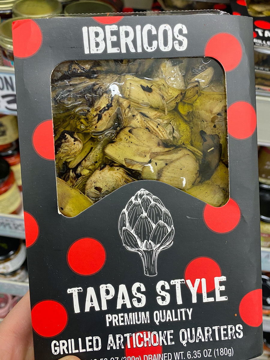 Marinated grilled artichoke quarters in packaging from Trader Joe's.