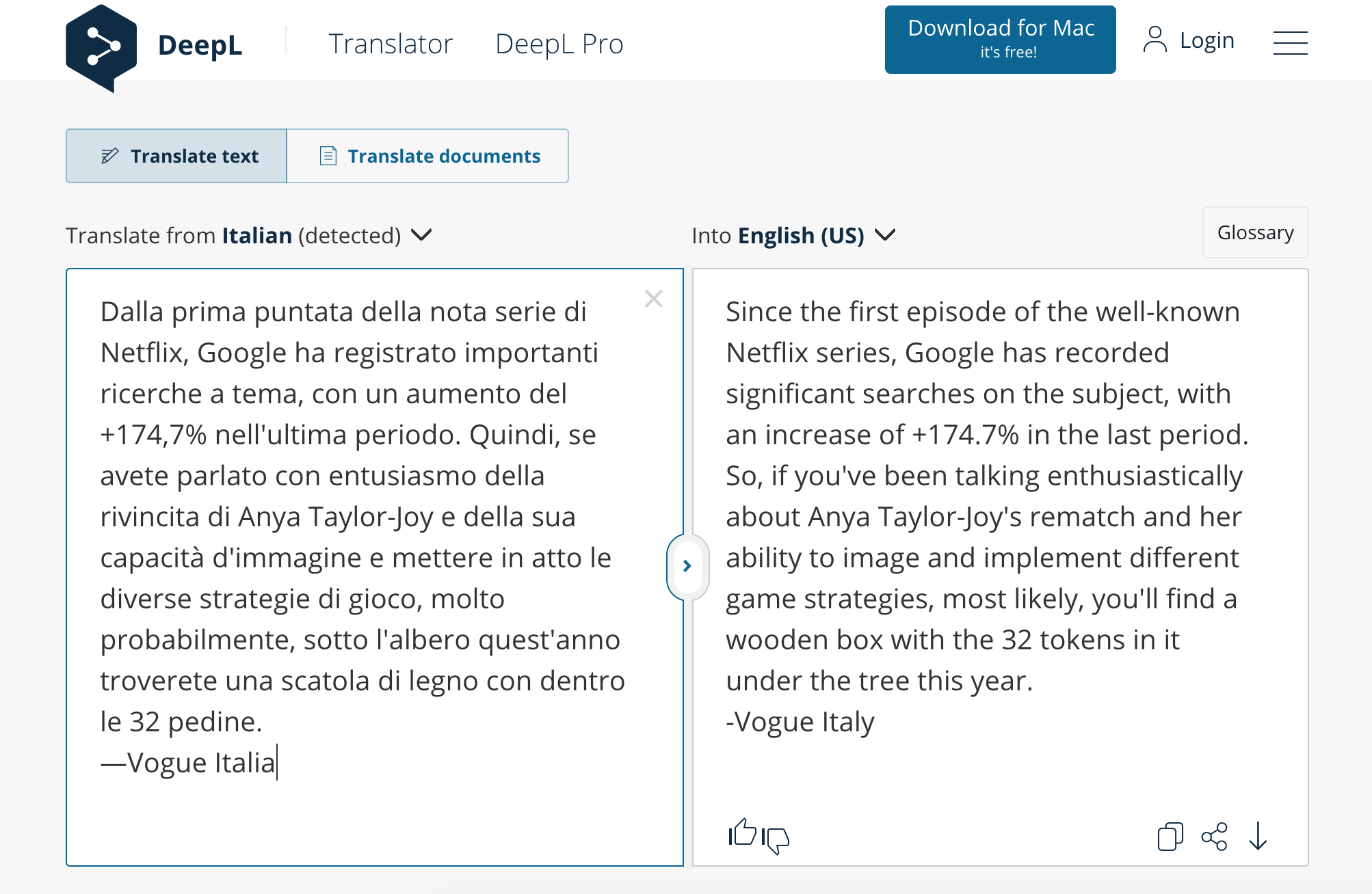 The DeepL translator showing an Italian paragraph from Vogue Italia translated into English
