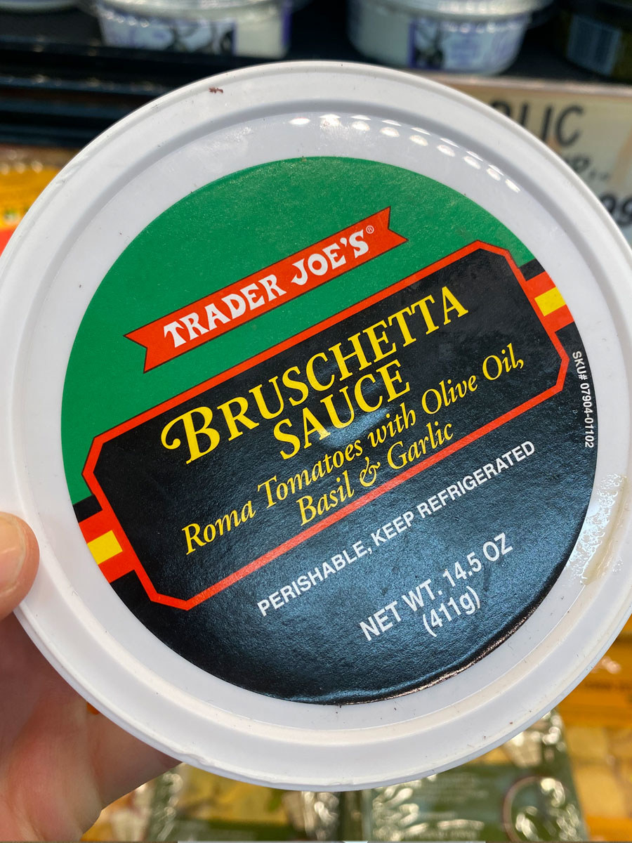 A container of bruschetta sauce from Trader Joe's.