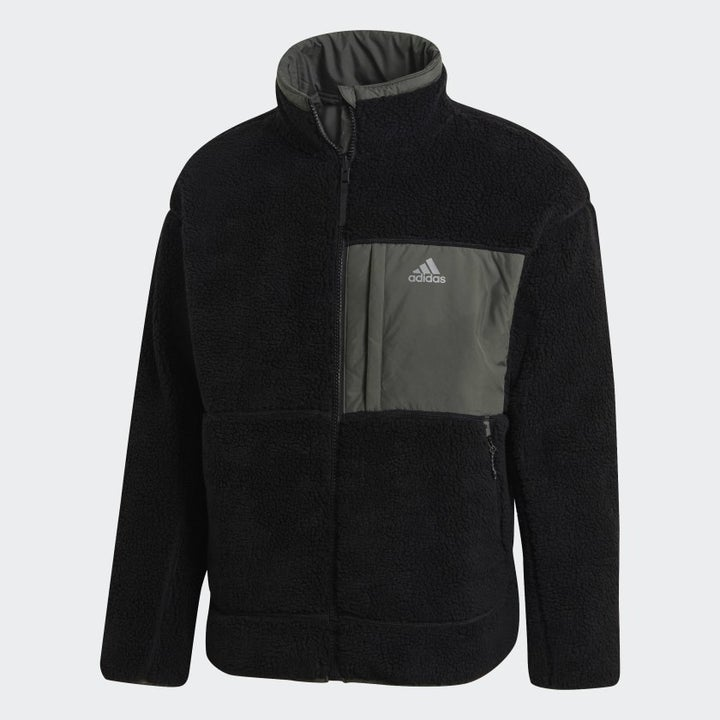 The jacket with the Black and grey fleece side out
