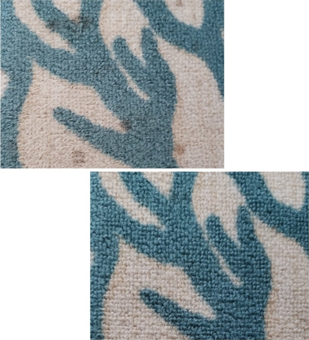 A before and after picture of a rug with a stain on it