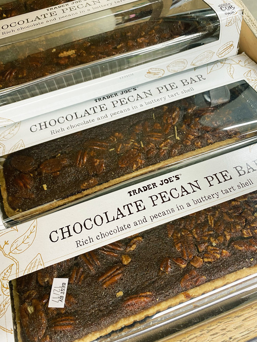 A few wrapped Chocolate Pecan Pie Bars from Trader Joe's.