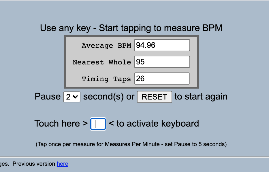 The homepage for all8's Tap for BPM tool that instructs users to continuously tap any key on their keyboard to measure BPM